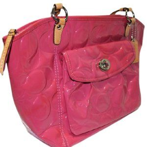 Coach 13178 Leah Op Art Pink Patent Leather Tote